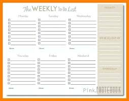 Weekly To Do List Template 8 9 Free Calendar With Hours Lccorp Co