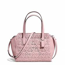 COACH f28081 TAYLOR EYELET LEATHER BETTE MINI TOTE CROSSBODY SILVER PINK  TULLE