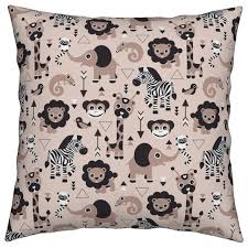 zoo jungle lion elephant geometric adorable throw pillow cover linen cotton