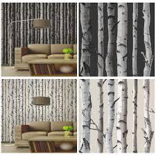 FINE DECOR BIRCH TREES 10m FOREST WALLPAPER - CREAM & SILVER + BLACK &  SILVER