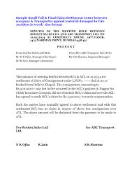 Settlement Letter Sample Articleezinedirectory