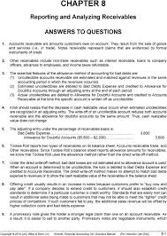 allowance for uncollectible accounts balance sheet chapter 8 reporting and analyzing receivables answers to questions
