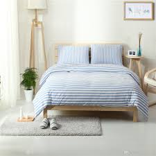 hot home textile100 high quality cotton knitting sky blue rand white stripe bedding sets queen king size duvet cover bedd sheet bedding sets on