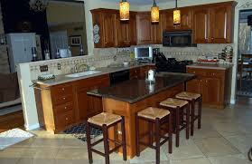 Interior Kitchen Island Seating Along Countert Stools Flooring