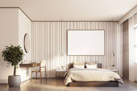 Large Bedroom Design Custom Beige Bedroom Interior With A Large Bed A Horizontal Poster Stock