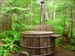 outdoor japanese soaking tub. outdoor japanese soaking tub | this cabin even comes with a natural, wood-fired .