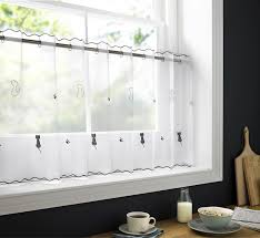 Kitchen Cafe Curtains Sheer Voile Cafe Panel Kitchen Bathroom Ready Made Tier Valance