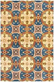 blue and gold rug cream