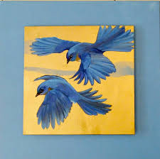 bluebirds 2 oil and mixed a on canvas 30x30 mounted on studio canvas