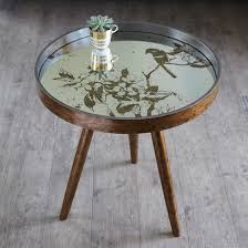 mirroed tray side table in antique gold with etched bird design to top