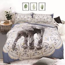 aztec elephant animal design duvet set quilt cover pillowcase bedding blue single 450893