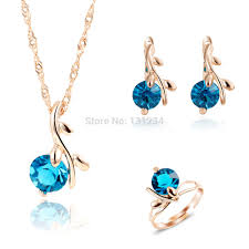 2016 unique peacock blue gems water drop pendant necklace rings jewelry sets for women rose gold color wedding jewelry set sultanbox