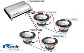 subwoofer wiring diagrams sonic electronix four single 2 ohm subs 4 ohm 2 chan amp see diagram