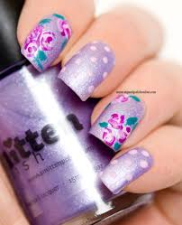 Nail Art – Roses on matte lilac | | My Nail Polish Online