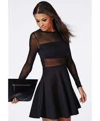 Turmec Long Sleeve Sequin Dress Missguided Mesh Insert Long Sleeve Skater Dress Black