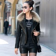 faux fur collar women leather jackets plus cotton jackets coats er motorcycle leather jackets plus size