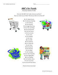Comprehension Worksheet - ABC's for Food