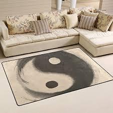 lorvies watercolor ying yang area rug carpet non slip floor mat doormats for living room