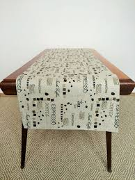 linen table runner in coffee pattern