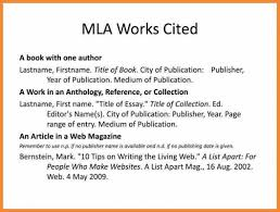 How Works Cited In Mla Format
