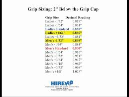 Golf Club Grip Sizing Charts Part 2 Of 6