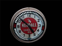 spectacular 1930s kendall motor oil neon service station clock with animation wheel front 3