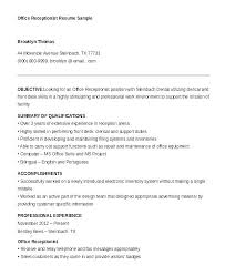 Receptionist Resume Objective Inspiration Sample Resume Of A Receptionist Resume For Receptionist Resume For