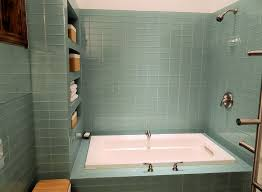 contemporary full bathroom with drop in bathtub subway tile throughout glass subway tile shower prepare