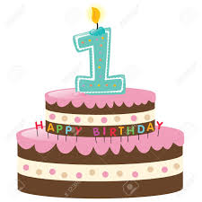 Happy First Birthday Cake With Candle Royalty Free Cliparts Vectors