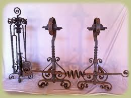 andirons and fireplace tools before restoration by georgeforge
