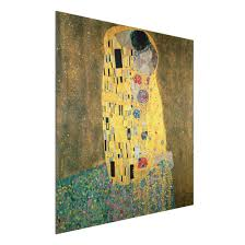 Alu Dibond Kunstdruck Gustav Klimt Der Kuß Jugendstil Quadrat 11