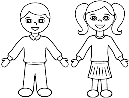 Small Picture Outline Of A Boy And Girl Coloring Pages esonme
