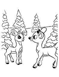 Small Picture Christmas Rudolph Reindeer Coloring Pages Baby Deer Drawing