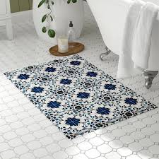 flat weave mosaic inspired bathroom rug