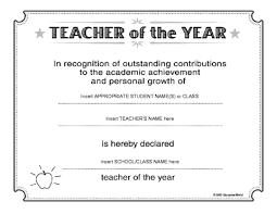Best Teacher Certificate Templates Free Education World Teacher Of The Year Certificate Template Avid