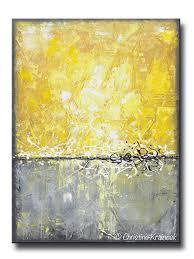 ORIGINAL Art Abstract Painting Yellow Grey Large Wall Decor Modern Textured  Coastal Urban Horizon - Christine