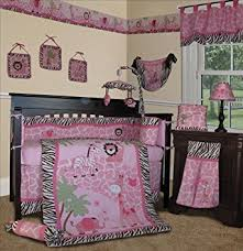D SISI Baby Girl Bedding  Pink Safari 13 PCS Crib Nursery Set