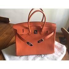 hermes birkin 35. hermès birkin 35 togo orange top handle - photo a146401-b hermes l