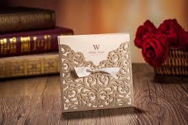 Laser Cut Wedding Invitations Cards Gold Ribbon Hollow Wedding Card