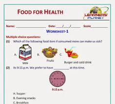 Food for Health Science revision worksheets videos class 2 cbse ...