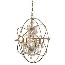 4 light rustic finish chandelier with crystal beads