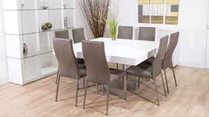 small modern square white dining table design with grey leather seats 8 with high back ideas