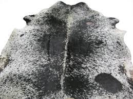 cowhide rug black white speckled