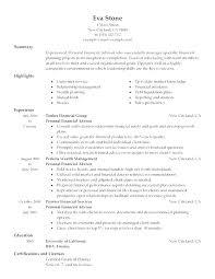 Financial Planner Resume Create My Resume Financial Adviser Resume ...
