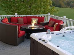 hot tub and firepit patio ideas
