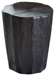 black tree stump stool accent table naturalist trunk indoor outdoor garden