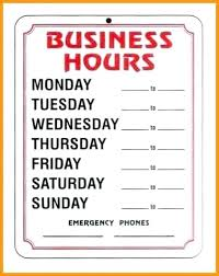 Printable Business Hours Sign Closed For Templates Images