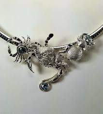 chesapeake blue crab slide sterling silver with blue zircon and topaz gemstones large 4 inches wide fits up to a 10mm slide omega necklace