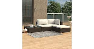 <b>4 Piece Garden Lounge</b> Set with Cushions Poly Rattan Brown - Matt ...