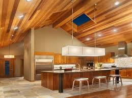 Cathedral Ceiling Kitchen Lighting Multi Color Wood Ceiling Recessed Lighting Modern Fixture Tile